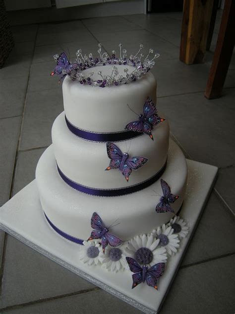 Cadburys purple butterfly motif cake   Fabulous Wedding