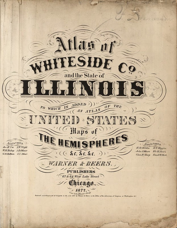 illinois map book lettering heading