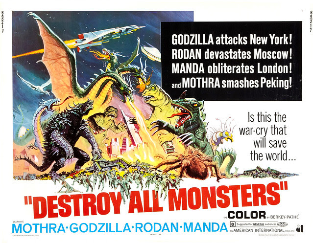 Reynold Brown - Destroy All Monsters (American International, 1969 half sheet