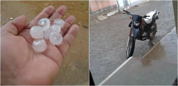 Chuva de granizo surpreende moradores do interior do Ceará (Foto: Milena Freitas/Arquivo pessoal)