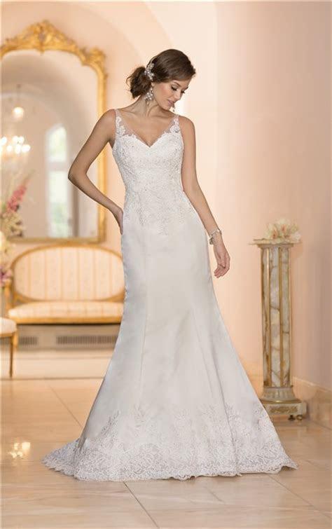 Mermaid V Neck Low Back Ivory Satin Lace Wedding Dress