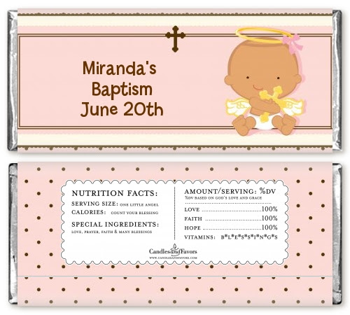 Angel Baby Girl Hispanic Baptism Christening Candy Bar Wrappers