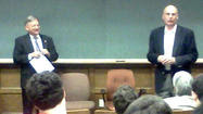 Getty and Kasemeyer discuss state politics with students at McDaniel