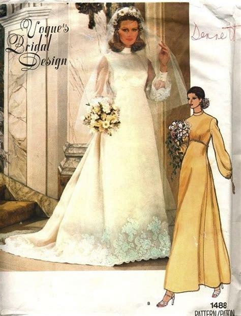 1970s WEDDING GOWN BRIDAL DRESS, VEIL, SLIP PATTERN VOGUE