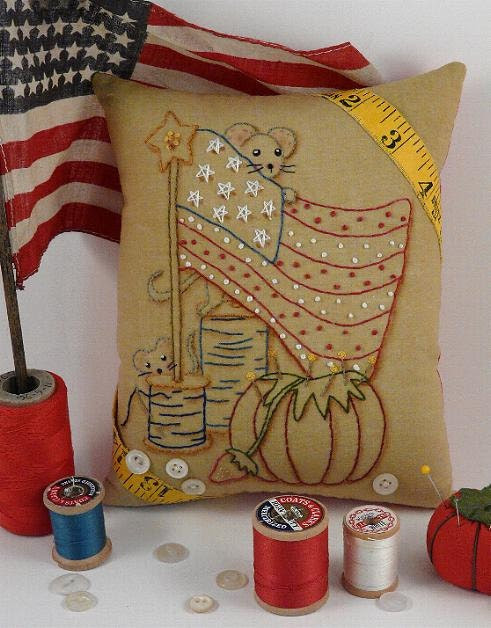 new  Yankee Doodle Mousey Stitchery E Patterrn - primitive Mouse mice sewing supplies Pdf Flag Stars pillow embroidery mice