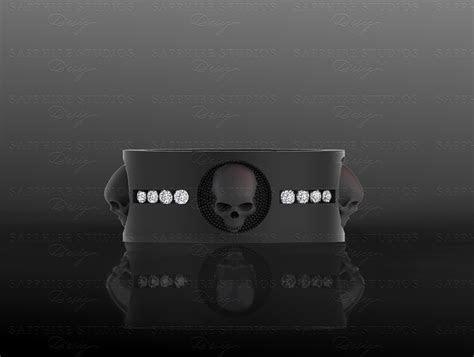 luna de saturno ct mens sterling silver skull