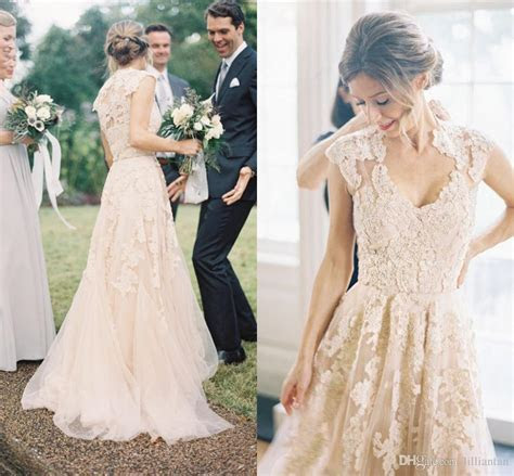 Discount Vintage Full Lace Wedding Dresses A Line Bohemian