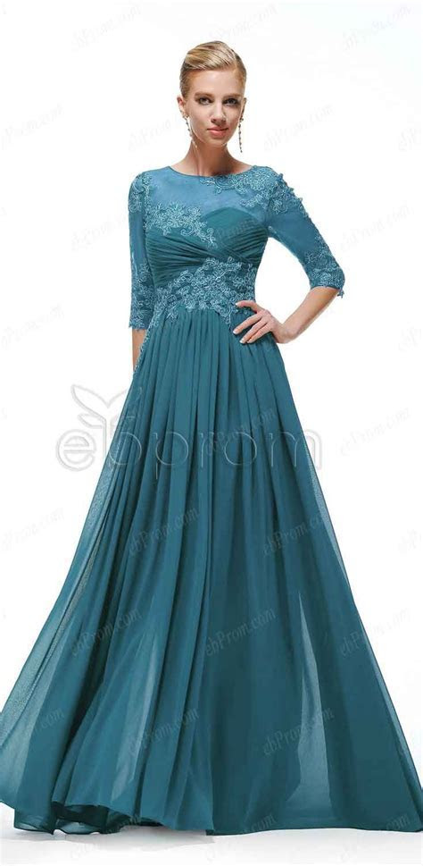 Teal modest formal dresses with sleeves   Maid of honor