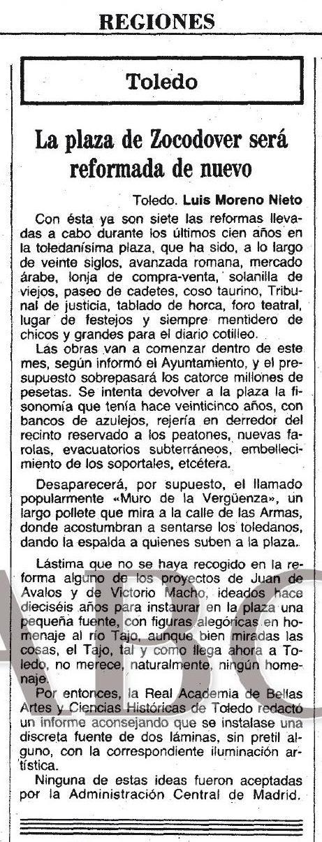 5-7-1983 Luis Moreno Nieto describe una nueva reforma de Zocodover. ABC