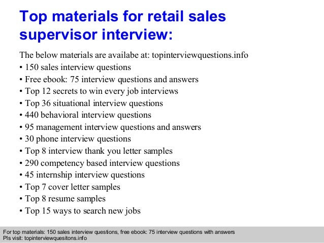 Retail sales supervisor interview questions and answers