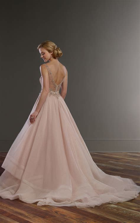 Pink Wedding Dress with Rose Gold Beading   Martina Liana