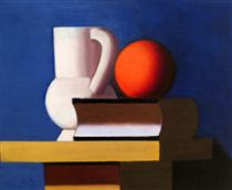 Still Life with White Jar, Orange and Book - Vilhelm Lundstrom