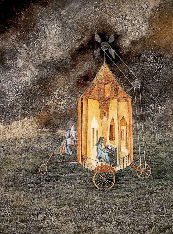 'Roulotte' (1955), pintura da espanhola Remedios Varo
