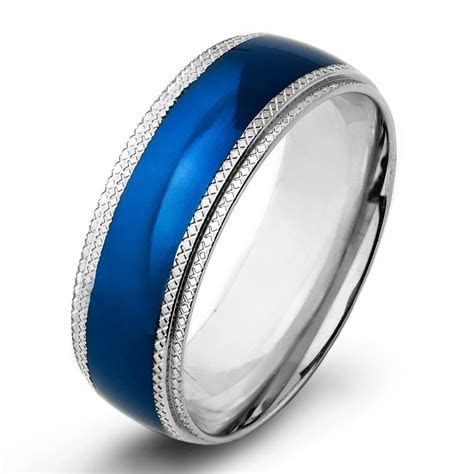 Men 8mm Wedding Engagement Band Stainless Steel Blue IP