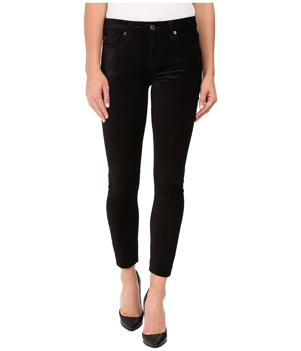 7 For All Mankind - The Ankle Skinny w\/ Contour Waist Band in Black Velvet (Black Velvet) Women's Jeans