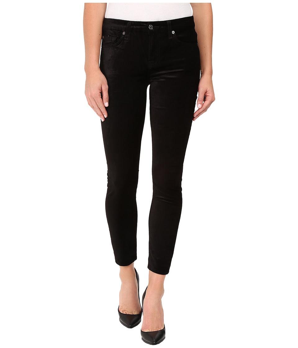 7 For All Mankind - The Ankle Skinny w\/ Contour Waist Band in Black Velvet (Black Velvet) Women's Jeans