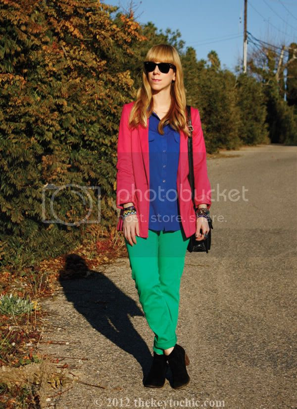color blocking trend, H&M colored denim, Los Angeles fashion blog, southern California fashion blog
