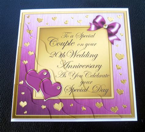 Special Couple 20th Wedding Anniversary Card   Plum, Gold