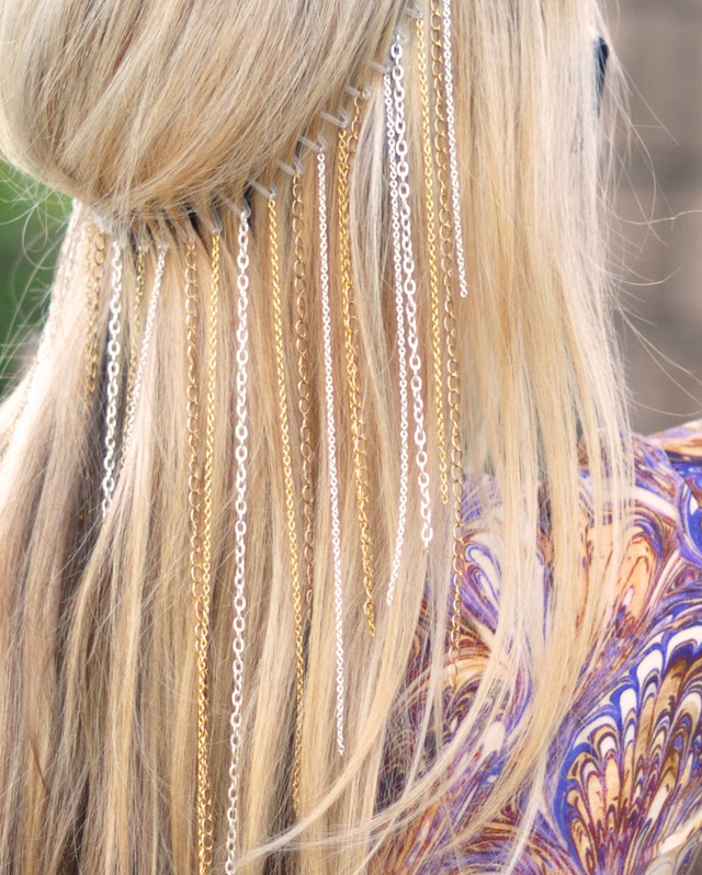 DIY chain headband- blonde hair