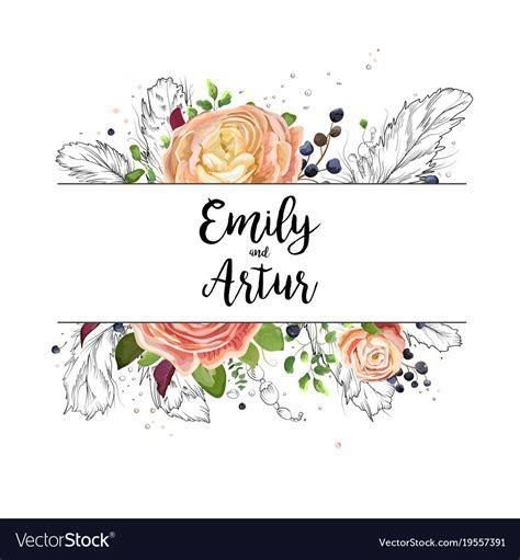 Wedding watercolor floral invitation card design Vector Image