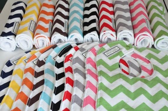 Pick 6 Chevron Baby Bibs and/or Burp Cloths