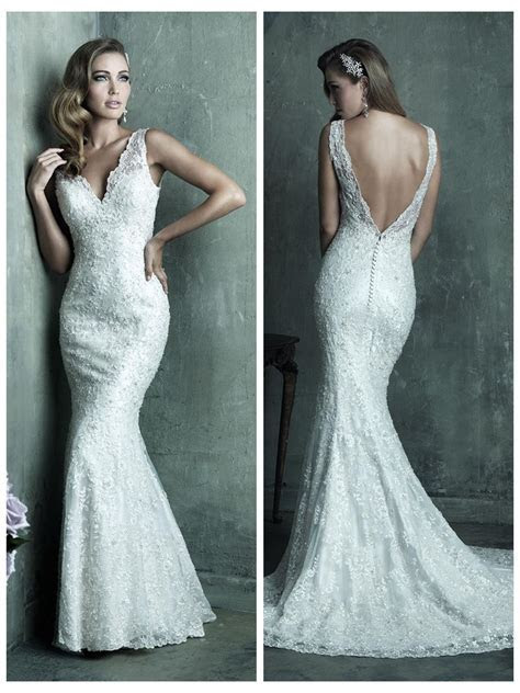Dreamy Lace Sheath V neck Wedding Dress With Deep V back