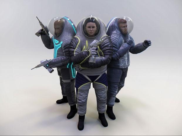 Três modelos de roupas espaciais Z-2 foram a votação popular (Foto: Nasa/BBC)