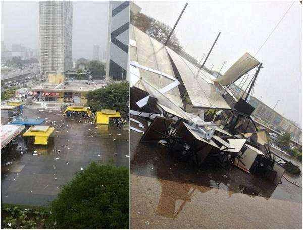 O restaurante ficou destelhado por causa da chuva desta terça-feira (Rayana Kallyne/Divulgação/Natália Medina/Divulgação)