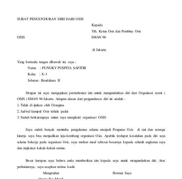 Contoh Surat Pengunduran Diri Ketua Organisasi Contoh Brends