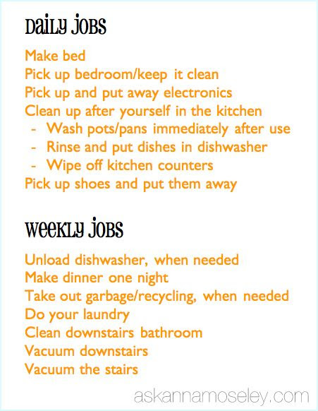 daily chores for teenagers calendar june
