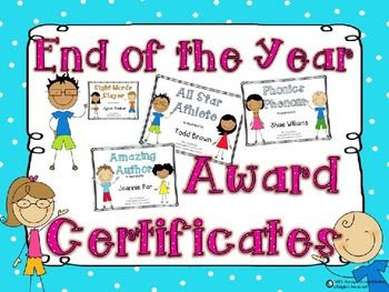 End of the Year Awards Certificates EDITABLE   End of, Colors and ...