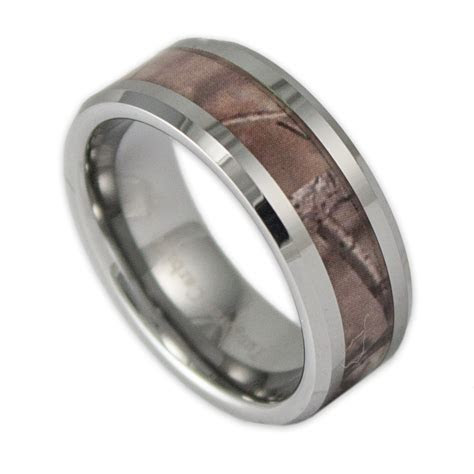 8MM Wide Men's Tree Camo Tungsten Ring Camouflage Wedding