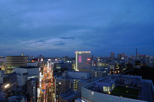 Night falling over Shinjuku
