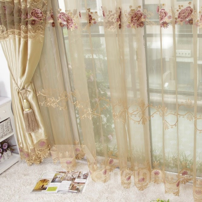 Super Soft and Thin with Lace Embroidery Custom  Sheer Curtain