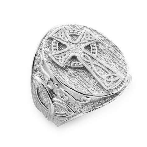 Men's Gold Celtic Cross Trinity Knot Ring   Celtic Rings