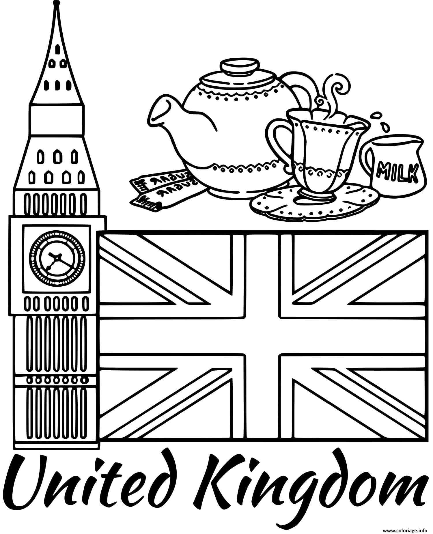 Coloriage Royaume Uni Drapeau Big Ben Jecoloriecom