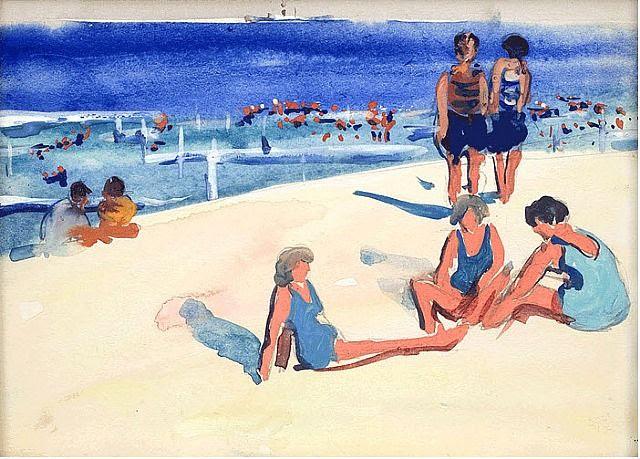 Jane Peterson, Beach Scene with Umbrellas