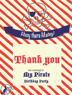 Mrs Fox's Pirate Party - Thankyou Card