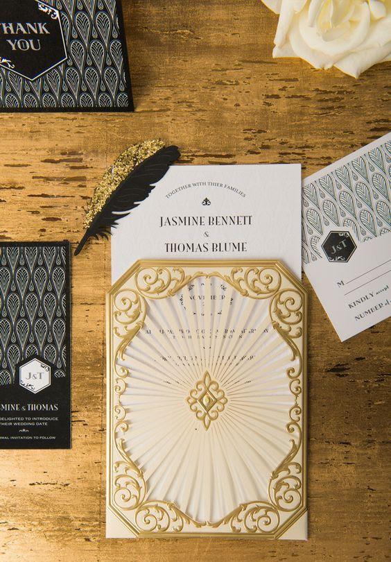 schwarz, gold und weiß Hochzeits-Einladungen mit schwarz und gold Federn