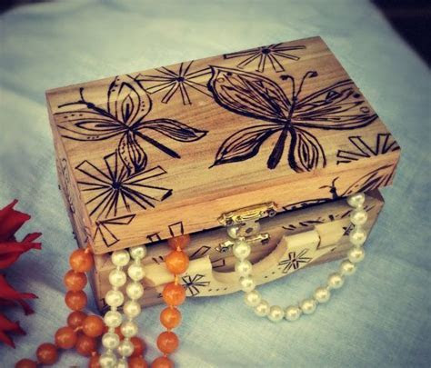 Wood Burned Butterfly Jewelry Box   Woodburning ideas