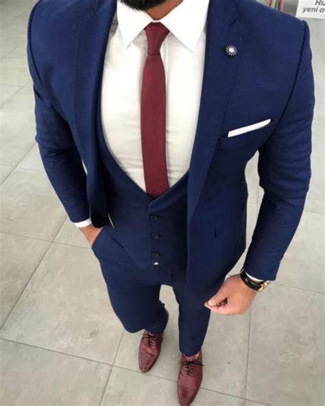 2017 Latest Coat Pant Designs Navy Blue Men Suit Jacket