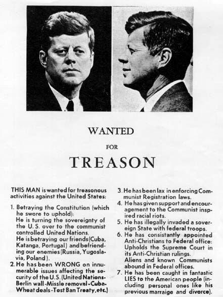 Panfleto de JFK que circulaba en Dallas el día  anterior al asesinato.