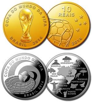 Moedas da Copa ouro, prata e níquel (Foto: Banco Central)