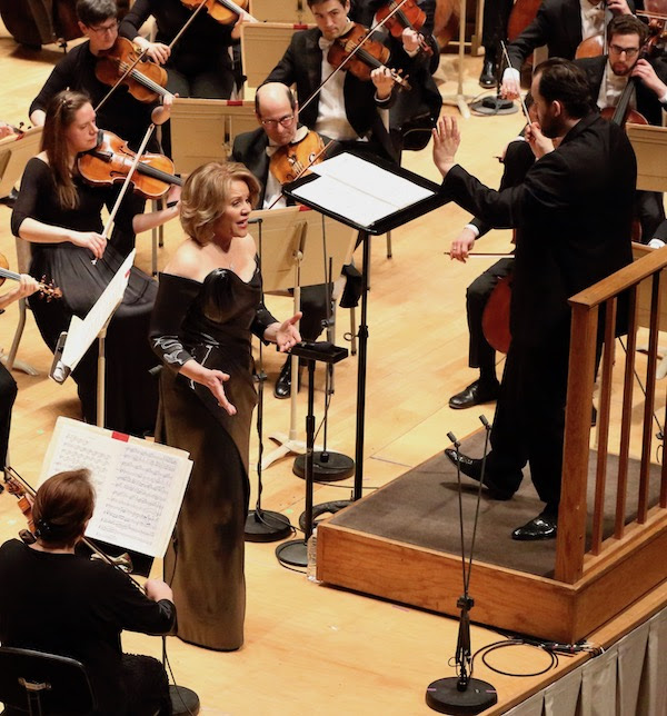 "Renee Fleming performed music from Richard Strauss's ""Capriccio"" with Andris Nelsons learning and Boston Symphony Orchestra Thursday night at Symphony Hall. Photo: Hilary Scott"