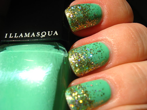 Green and gold glitter gradient!