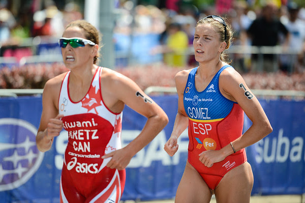 Amelie Kretz, Tamara Gomez Garrido - 2015 Mooloolaba ITU Triathlon World Cup Women - 2015 Mooloolaba Triathlon Multi Sport Festival, Sunshine Coast, Qld, AUS; Saturday 14 March 2015. Photos by Des Thureson - http://disci.smugmug.com. Camera 1.