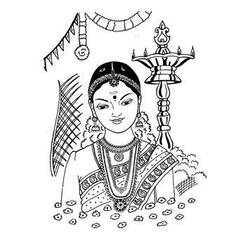 Black & White clipart hindu wedding   Pencil and in color