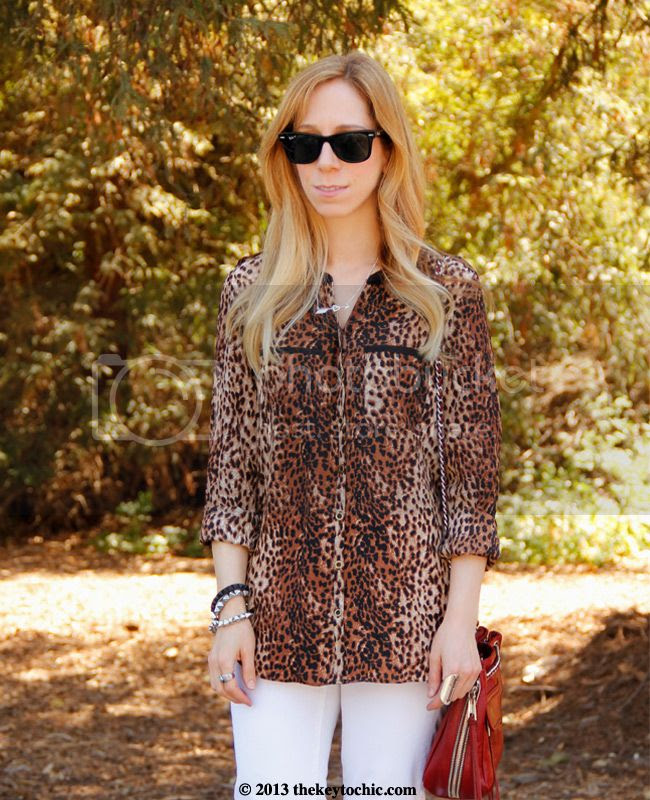 Heavenly Couture cheetah print blouse, Gap white skinny jeans, Rebecca Minkoff Swing bag, Los Angeles fashion blogger