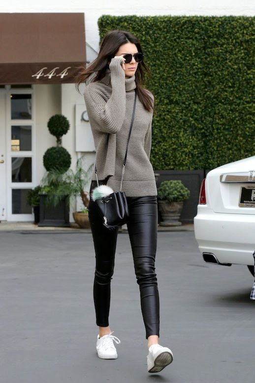 Le Fashion Blog Model Off Duty Style Kendall Jenner Ribbed Turtleneck Sweater Mini Bucket Bag With Fur Pom Pom Leather Pants White Sneakers Via Kendall-Jenner.net