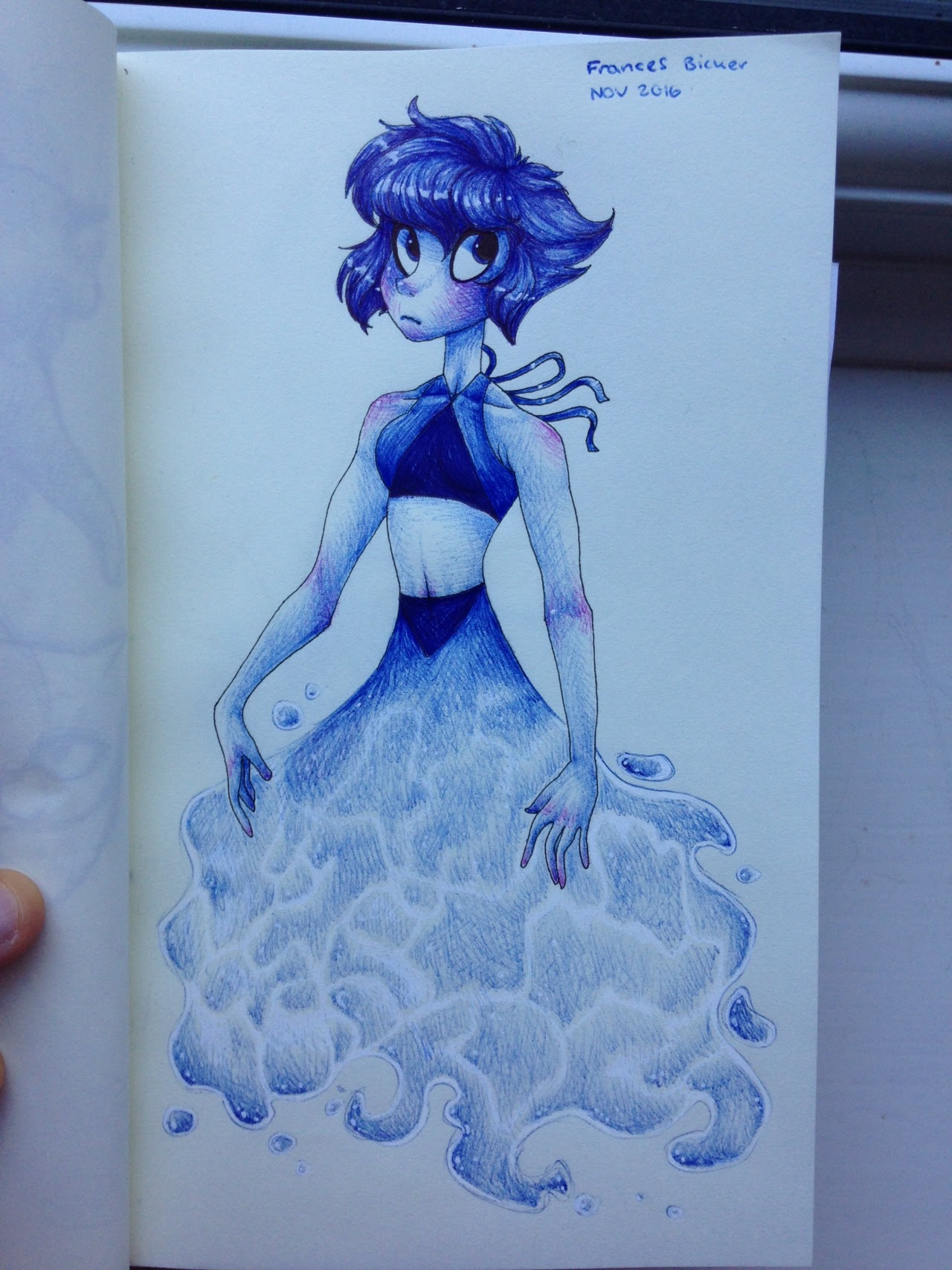 I attempted water, and it didn't go well; time to practice! Not-so-happy lapis done in fineliner, biro pens and white pen Character does not belong to me